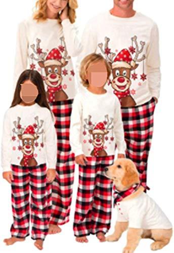Weihnachts Pyjamas für Familie,Damen Herren Kinder Baby Junge Mädchen Schlafanzüge Pullover Top mit Hirsche Aufdruck Plaid Hose Christmas Matching Family Pyjamas Set (Baby, 12-18 Monate)