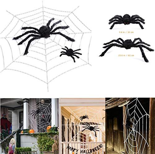 Amosfun Riesen Spinnennetz mit Spinnen Halloween Spinnennetz Dekorationen Indoor Outdoor Spukhaus Dekor (118Zoll Spider Web + 11,8 Zoll Schwarze Spinne + 23,6 cm Schwarze Spinne)