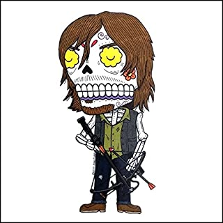 Daryl Dixon Walking Dead Inspired Calavera Die Cut Clear Vinyl Sticker Sugar Skull - Day of the Dead - Weather Proof Decal