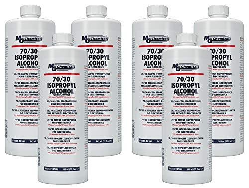 MG Chemicals 8241 Limpiador electrónico con alcohol isopropílico 70 30, frascos de 945 ml (paquete de 6, se vende solo como estuche)