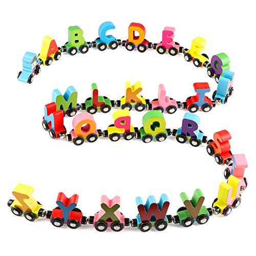 Wondertoys 27 PCS Wooden Alphabet Train Toy Wooden Magnetic Alphabet ABC...