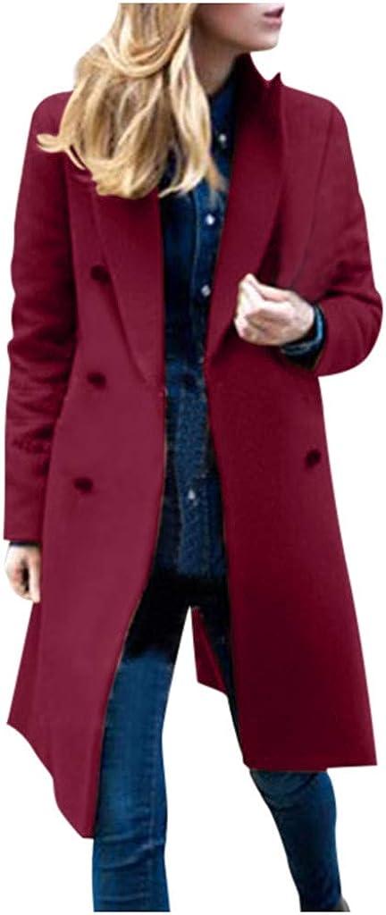 TRENDINAO Double Breasted Trench Coat Women Winter Notch Lapels Outwear Elegant Woolen Pea Coats