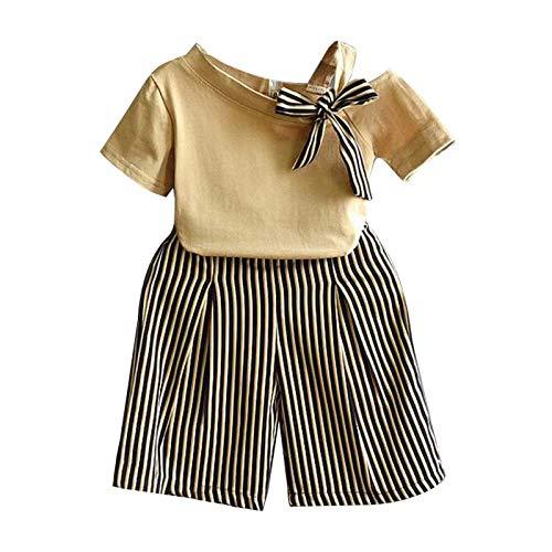 Qlans pour l'Ensemble de vêtements Filles 2-7 Ans, Enfants Filles Casual Summer Short Sleeve T-Shir Rayures Impression Shorts Combinaisons