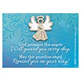 lapel pin Silver-Toned White Enamel Guardian Angel with Guardian Angel Message, 1 Inch
