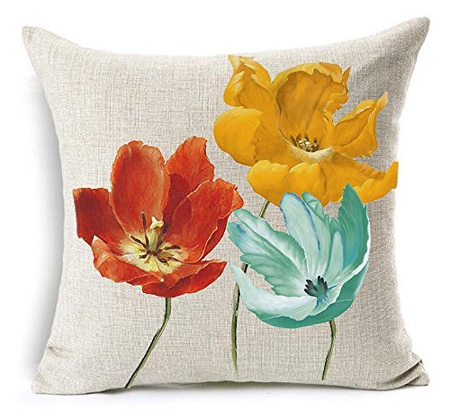Queen's designer Cotton Linen Square Decorative Throw Pillow Case Cushion Cover Enchanting Beautiful Tricolor Orange Red Yellow Blue Poppy Flowers Gift Anniversary Day Present 18'X18