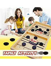 Keeplus Wooden Hockey Game Table Game Family Fun Game - Fast Sling Puck Juego,Hockey de Madera,Juego de Hockey de Escritorio,Juegos de Mesa de Madera,Juegos de Mesa Interactivos