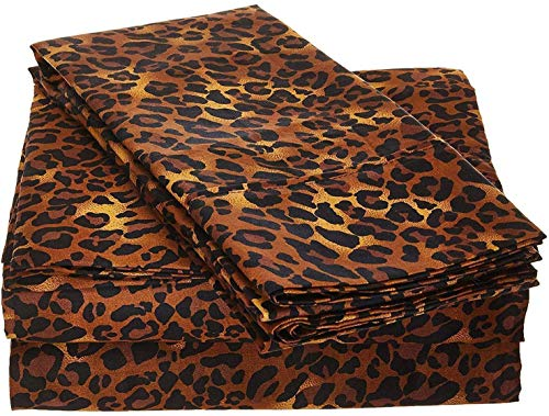 Rajlinen 100% Cotton Bed Sheet Set - 300 Thread Count Sateen - 15 inch Deep Pocket - Quality Luxury Bedding - 4 Piece (Leopard Print California King)
