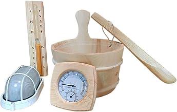 qianele Accessoires Sauna 6 Pièces, Prendre Baril en Bois + Louche + Sablier + Thermomètre + Lumière + Huile Essentielle S...