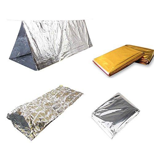 xiangshang shangmao Outdoor Warm Set Survival Tent + Sac de Couchage + Survival Blanket