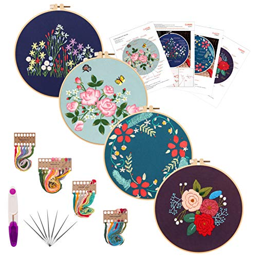 Embroidery Starters Kit with Pattern for Beginners, 4 Pack Cross Stitch Kits, 2 Wooden Embroidery Hoops,Scissors,Needles and Color Threads,Needlepoint Kit for Adults
