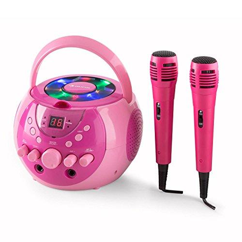 auna SingSing - Karaoke para niños, Set de Karaoke, 2 x micrófonos dinámicos, Reproductor de CD, Medios CD + G, Efecto de Eco, AVC, Salida de Video, Efecto de luz LED, Rosa