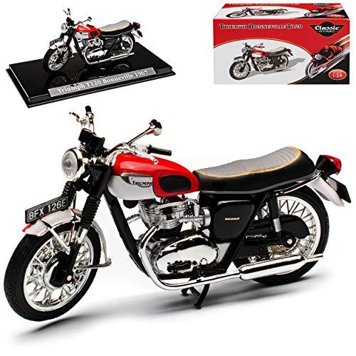 Atlas Triumph T120 Bonneville Rot 1959-1973 mit Sockel 1/24 Modell Motorrad