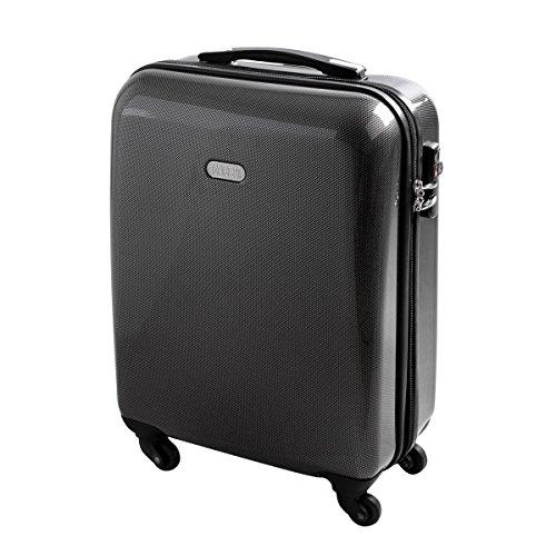 Hartschalen Reise Koffer Trolley Bordgepäck Kurzurlaub geeignet Handgepäck 30 Liter Carbon Style 820