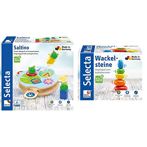 Selecta 62072 Saltino, Frosch-Katapult, Motorikspielzeug aus Holz & 62009 Wackelsteine, Stapelspielzeug aus Holz, 6 cm