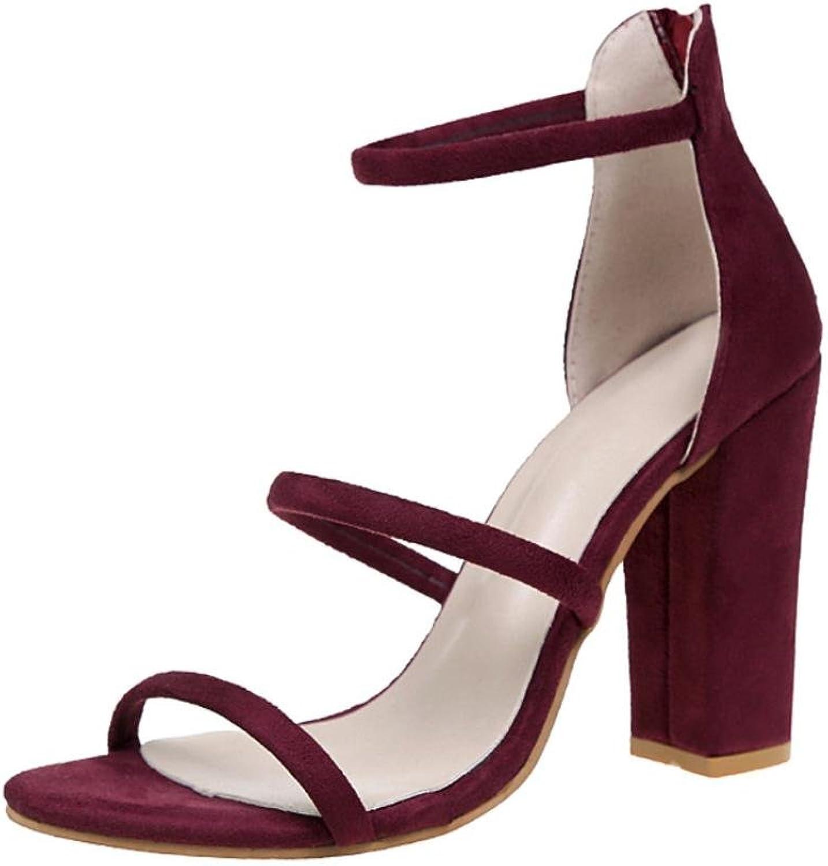 Yoyorule Women Zip Sandals Ankle High Heels Block Party Open Toe shoes