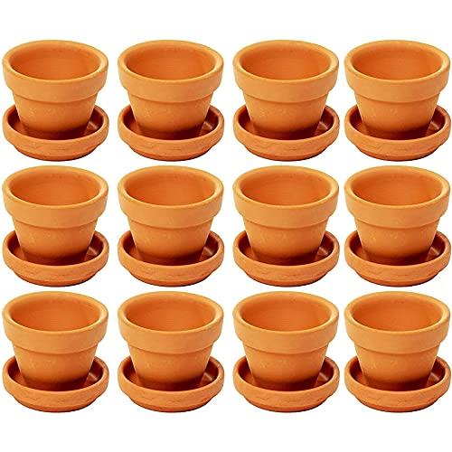 Petits Pots de Fleurs en Terre Cuite avec Soucoupe - Lot de 12 Pots pour Plantes en Argile avec Soucoupe, 7 x 6,5 cm