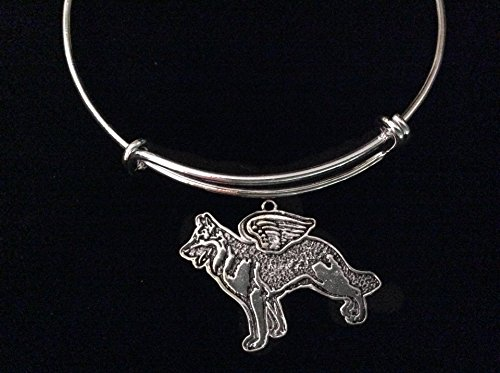 German Shepherd Expandable Silver Charm Bracelet Bangle Adjustable Memorial Angel Wings Pet Loss