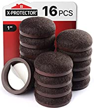 """Felt Pads X-Protector – 16 PCS Felt Furniture Pads – 1"""" Formed Floor Protectors for Furniture Legs – Chair Sliders for Hardwood Floors – Anti-Scratch Furniture Feet Pads – Effective Protection (Brown)"""