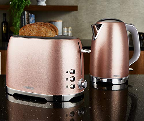 Tower Blush Pink Glitz Jug Kettle and 2 Slice Toaster Set - 1.7Ltr - 3Kw - Stainless Steel l