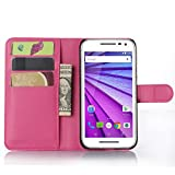 Ycloud Tasche für Motorola Moto G 3 Generation Hülle, PU Ledertasche Flip Cover Wallet Hülle Handyhülle mit Stand Function Credit Card Slots Bookstyle Purse Design Rose Red