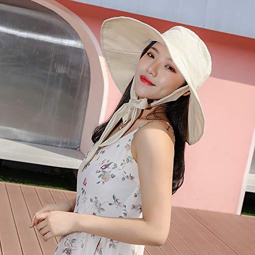 Cappello Esterno del Sole di Estate del Cappello Signora, Tesa Larga Turismo Striscione Cappello da Sole Modo del Cappello Pieghevole, Cappello della Spiaggia d'Estate Che Copre Il Viso con,Beige