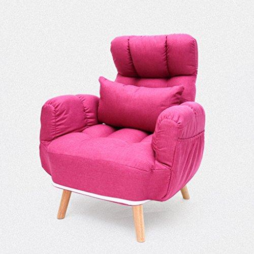 Pliage paresseux canapé chambre salon Mini belle loisirs balcon Femmes enceintes chaise longue -LI JING SHOP (Couleur : Rose rouge)