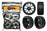 FireBrand RC • 'Turbine-RT' On-road RACE wheels and FireFang Race Treads, Galaxy Black (Directional, Set of 4 – Pre-Glued) 1:10 Scale RC Wheels