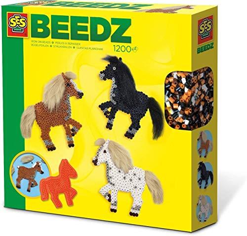 SES Creative 6259 Beedz-Bügelperlen Mähnen Bügelperlenset Pferde, Diverse Farben