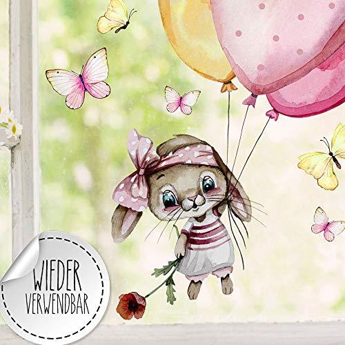 ilka parey wandtattoo-welt Fensterbild Hase Häschen mit Ballons Schmetterlinge wiederverwendbar Fensterdeko Fensterbilder Frühling Dekoration bf130 - ausgewählte Größe: *2. Häschen Luftballons*