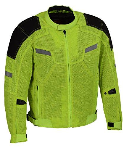 Milwaukee Performance Men's Mesh Racing Jacket with Armor (BLACK/NEON GREEN, Large)