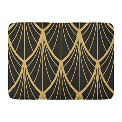 N / A Alfombrilla de baño Vintage Elegante Dorado Negro Patrón de Abanico Elegante Vint Alfombra de decoración de baño Moderna
