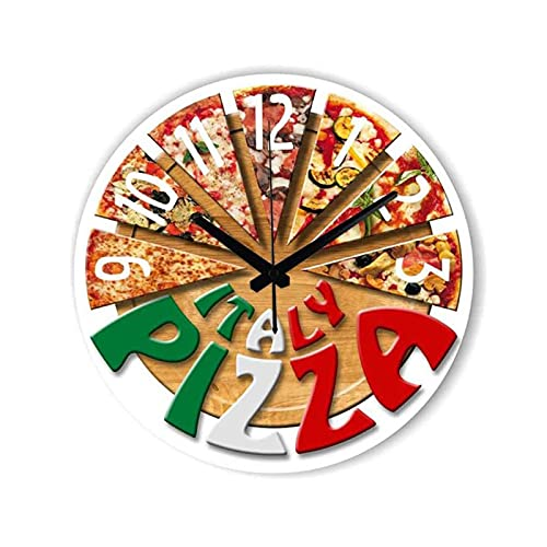 SX-ZZJ Orologio da Parete, 12 Pollici retrò Creativo Pizza Mute Pizza nordica Cucina Soggiorno Camera da Letto Camera da Letto Sala da Letto Camera per Bambini Sala da Pranzo caffetteria Ristorante