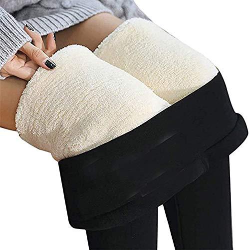 Lamb - Pantalones para mujer, talla normal, cálidos, sólidos, de terciopelo, cachemira, polainas térmicas, leggings con forro polar, para otoño e invierno