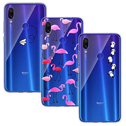 Yoowei [3-Pack] Funda para Xiaomi Redmi 7 Transparente con diseños, Funda protectora de gel de TPU de silicona ultra delgada suave para Xiaomi Redmi 7, Avión + Flamencos + Panda