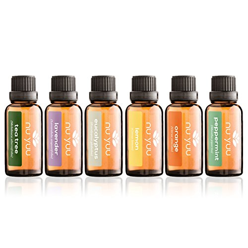 Nu Yuu Aromatherapy Top 6 Essential Oils 100% Pure & Therapeutic Grade - Basic Sampler Gift Set & Premium Kit - 6/30 mL Large Bottles (Lavender, Tea Tree, Eucalyptus, Lemon, Orange, Peppermint)