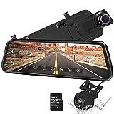 10'Mirror Dash CAM Pantalla táctil Cámara de Respaldo 170 ° 1080P Delantera y 150 ° 1080P Cámara de visión Trasera Doble Lente Visión Nocturna Monitor de estacionamiento + Tarjeta SD de 32 GB