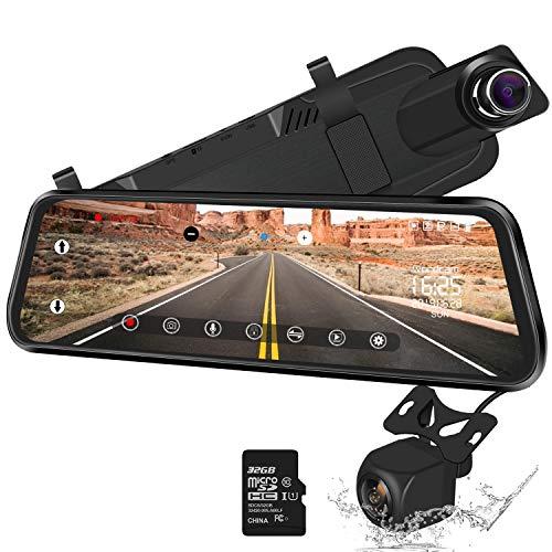10 Zoll Spiegel Dash Cam Backup Kamera Full Touch Screen Video Streaming Spiegelkamera 170° 1080P Front und 150° 1080P Rückfahrkamera Dual Lens mit Nachtsicht & Parkmonitor (Kostenlose 32GB SD Karte)