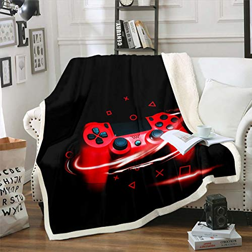 Feelyou Gaming Fleece Throw Blanket Teens Boys Gamer Video Game Sherpa Blanket Geometric Grid Triangle Circle Plush Blanket Soft Lightweight Fuzzy Blanket for Sofa Bed Couch Black Red 60'x80'