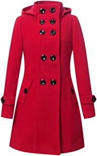 Overcoat for Women, Misaky Long Sleeve Double Breasted Hooded Solid Color Jacket Outwear Mid-Length Coat with Belt