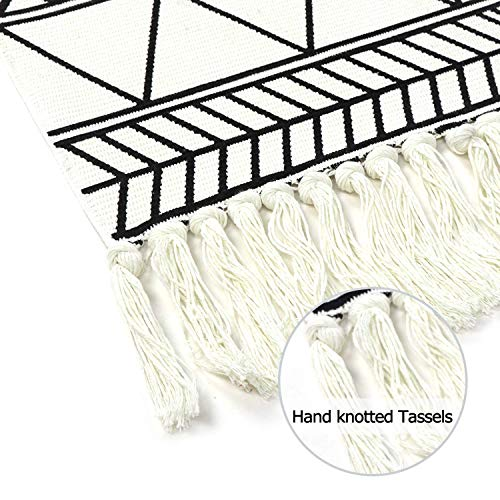 KIMODE Moroccan Cotton Area Rug 2' x 4.3'  Fringe Throw Rugs  Hand Woven Diamond Print Tassel Welcome Door Mat  Entryway Floor mat   Washable Floor Runner Rug  Porch Kitchen Living Room Carpet
