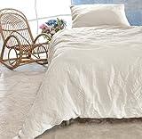 Leinen-Bettwäsche-Set Sintra 100% Leinen aus Portugal, Kissen 80x80cm und Bettbezug 135x200 oder 155x220cm (weiß, 135x200cm + Kissen 80x80cm)