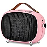 Space Heater, Teioe Small Space Heater for Bedroom, Mini Electric Space Heater with Tip-Over & Overheat Protection, Portable PTC Ceramic Space Heater for Office, Desk, Indoor Use (PINK)