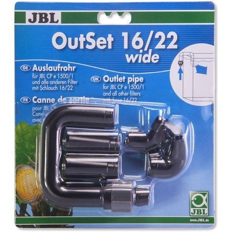 JBL - Outset Wide 16/22 Wasserrücklauf-Set mit Breitstrahlrohr für Außenfilter von Aquarien mit 16/22 Schlauch