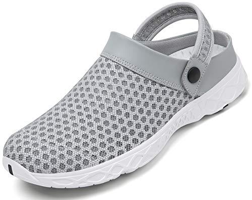 Hombres Mujeres Zuecos Zapatillas de Playa Respirable Malla Ahueca hacia Fuera Las Sandalias Zapatos Vernano Gris A 36 EU