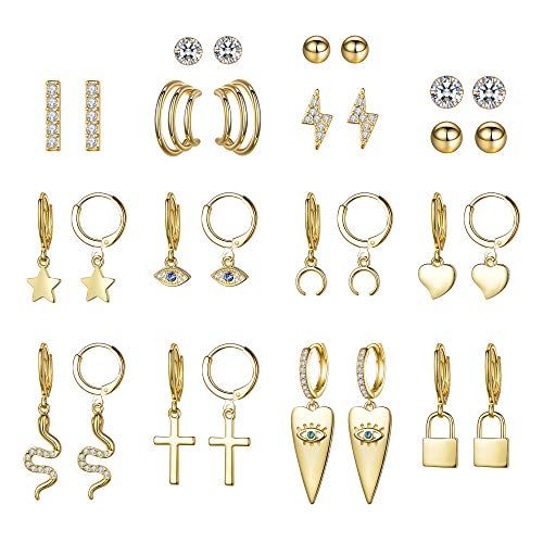 Aganippe 15 Pairs Gold/Silver Tone Plated Small Dangle Hoop Earrings with Charm for Women Girls Huggie Hoop Earrings and Cubic Zirconia/Round Ball Stud Earrings for teens Girls (Gold)