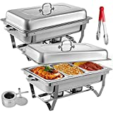 KITGARN 2 Packs Stainless Steel Chafing Dishes 3 1 in 3rd Size Pans 8 Quart Rectangular Chafer Complete Set Buffet Tray Food Warmer