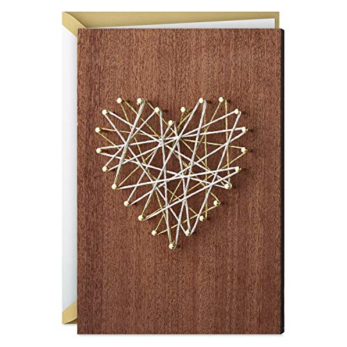 Hallmark Signature Wood Love Card, Anniversary Card, Romantic Birthday Card (String Heart Art)