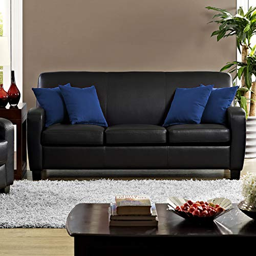 Dorel Living Carver Faux Leather Sofa, Black