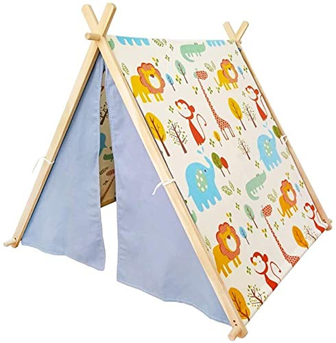 SHUNFENG-EU Profundo bosque Dibujos animados Animales Patrón Niños Play Tent Stripes Play House Garden Theatre Interior and Outdoor Wooden Tepees Baby Boys and Girls Split Bed Cumpleaños Regalo de Nav