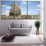 ZXCVWY 3 Paneles Decoración del Hogar Sala De Estar Cielo Paisaje Imagen Elefantes Y Niñas Sentadas En Las Rocas Arte De La Lona Impresiones Cartel